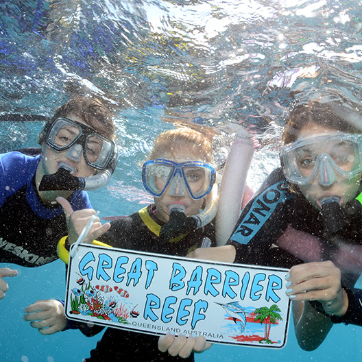 Emmanuel students snorkeling in the Great Barrier Reef in Cairns, Australia