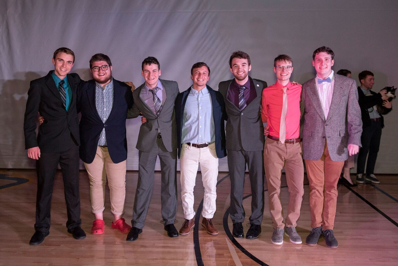Big Man on Campus contestants from left to right: Patrick Carty '20, Ean Anderson '19, Nicholas Beecher '20, William Burdick '20, Michael Giordano '21, Nathan Miozza '19, and Patrick Fay '20