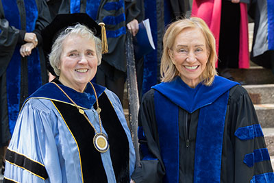 Emmanuel College President Sister Janet Eisner, SNDdeN stands with presidential historian and author Doris Kearns Goodwin on the front steps of the College's Administration Building.