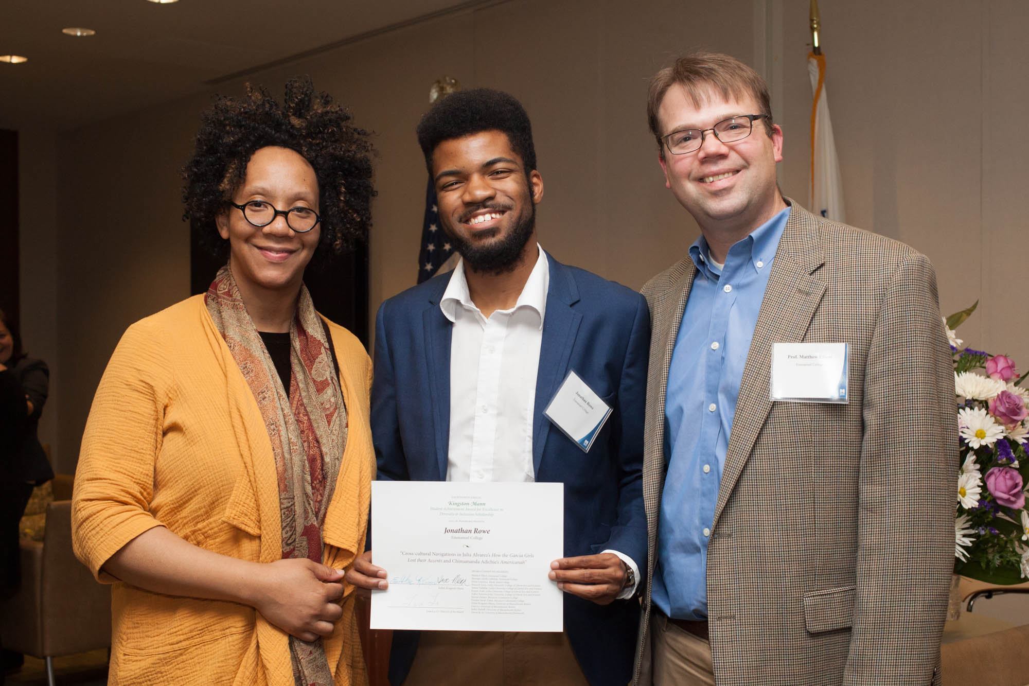 Jonathan Rowe '18 with his faculty advisor Assistant Professor of English Monique-Adelle Callahan (left) and Associate Professor of English and Department Chair Matthew Elliott (right).