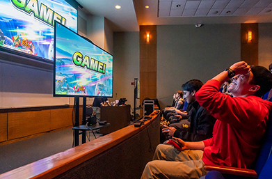 Students play Super Smash Bros in Emmanuel's Library Lecture Hall