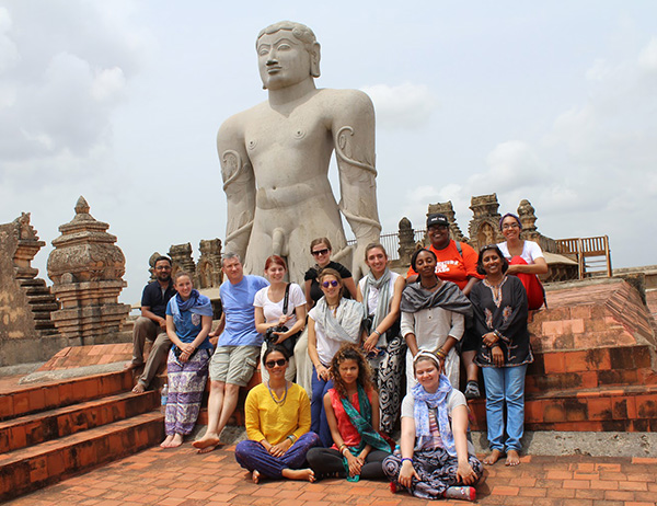 a group of Emmanuel students on a travel course to India